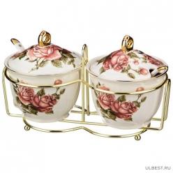 """Набор банок для сыпучих продуктов из 2-х шт.""""Розы"""" с ложками на метал.подст. диам.=10,5 см 86-932"""