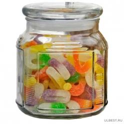 Стеклянная банка для сыпучих продуктов со стекл плоской крышкой, ARIA, объем: 0,75 л, тм Mallony арт