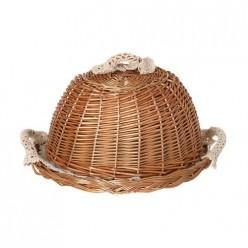 Хлебница с крышкой круглая в комплекте салфетка 119-206