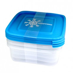 Комплект контейнеров (3шт) для замораживания продуктов МОРОЗКО 0.7л квадратн С64036 Полимербыт