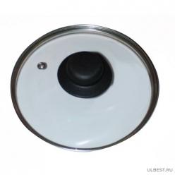 Крышка стеклянная T-type D=220 мм в компл. черная ручка КС-22