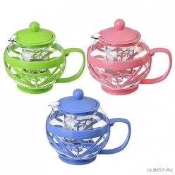 Чайник заварочный с сеточкой, 750мл, ситечко из нержавеющей стали, стекло, пластик. 3 цвет (850-168)