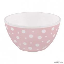 """Салатник """"Горошек"""" 0,5л (бело-розовый) (уп.20) М7024"""