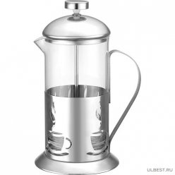 Чайник/кофейник (кофе-пресс) стеклянный в корп из нерж ст, 350 мл, ALITO, тм Mallony арт.950149