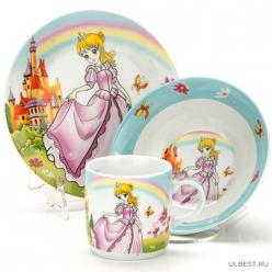 Ф Набор детский 3пр Принцесса (тарелка 18см, салатник 15см, кружка 230мл) под/уп C144#