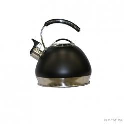 Чайник нерж 3л со свистком, металлическая ручка с силик. покрытием,черн. Daniks MSY-A060B