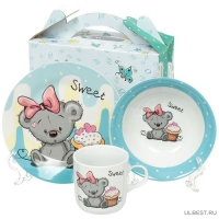Ф Набор детский 3пр Медведь (тарелка 18см, салатник 15см, кружка 230мл) под/уп C524#