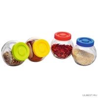 Набор из 4 стеклянных банок (по 0,15 л) VASO для сыпучих продуктов, тм Mallony 003606