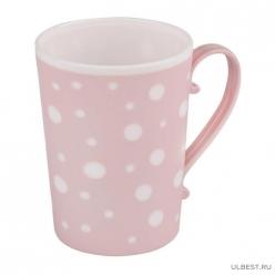 """Кружка """"Горошек"""" 0,35л (бело-розовый) (уп.30 ) М7038"""