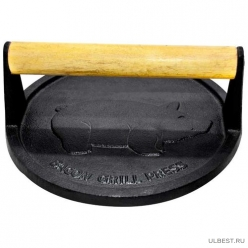 Пресс для гриля чугунный с деревянной ручкой, круглый, PRESSA, диа 18 см, тм Mallony арт.985061