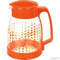Кувшин из жаропрочного стекла Brocca-1800 с пластик ручкой, 1,8 л, оранж дизайн, Mallony арт.910115