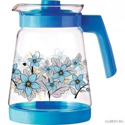 Кувшин из жаропрочного стекла Pentola-2500 с пластик ручкой, 2,5 л, синий дизайн, Mallony арт.910118