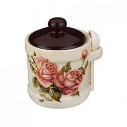 Сахарница корейская роза 13*11*12см с ложкой 358-877