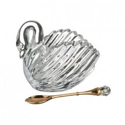 Икорница коллекция муза 11,5*6,5*9,5 см. + ложка металлическая 355-230