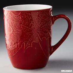 """Ф13-034L Кружка 380мл """"Kленовый лист"""", керамика, (36),красный"""