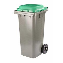 Бак для мусора 120л на колесах серо-зеленый М4603