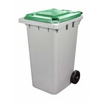 Бак для мусора 240л на колесах серо-зеленый М5937