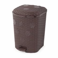 Контейнер д/мусора Плетенка 12л с педалью венге М7996