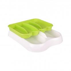 Лоток для столовых приборов раздвижной бело-зеленый М6005
