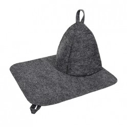 Набор из двух предметов (Шапка, коврик) серый Hot Pot /20 41183