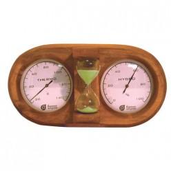Термометр с гигрометром Банная станция с песочными часами 27*13,8*7,5см для бани и сауны /4 18028