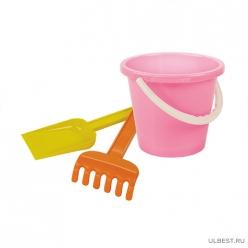 Набор детский №2 (грабли+лопатка+ведерко) (уп.16) М1199