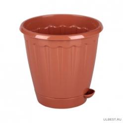 Горшок цв. Рондо 0,8л с под. (коричневый) (уп.18) М6089