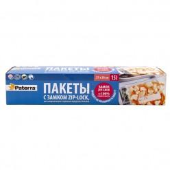 Пакеты для замораживания и хранения продуктов с замком Paterra 15шт в уп 3л, толщ40мкм 109-195