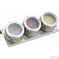 Набор для специй Agness 4 пр.на магнитах, в т.ч. метал.подставка 20*6*5 см 912-005