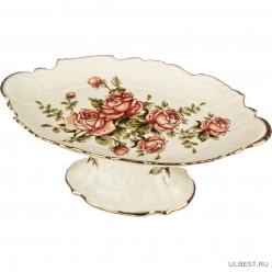Фруктовница на ножке Lefard Корейская роза 35*21 см. высота=13 см. под.упаковка 215-024