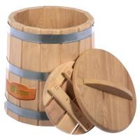Кадка для воды и заготовки солений 15 л. с крышкой и гнётом, дуб Банные штучки 33230