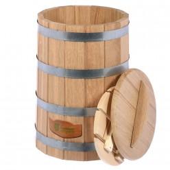 Кадка из дуба для воды и заготовки солений 30л с крышкой и гнётом Банные штучки 33231