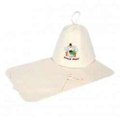 Набор из 3-х предметов (шапка Хозяин бани, рукавица, коврик) Банные штучки войлок 100% 41084