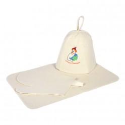 Набор из 3-х предметов (шапка Лучший банщик, рукавица, коврик) Банные штучки войлок 100% 41085