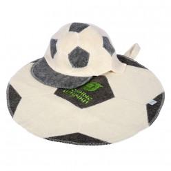 Набор из 2-х предметов (шапка Футбольный мяч, коврик Футбольный мяч) Банные штучки 41126