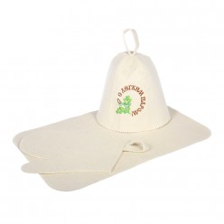 Набор из 3-х предметов (шапка С лёгким паром, рукавица, коврик) Банные штучки, войлок 100% 41086