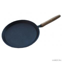 Сковорода литая чугунная блинная 220х15 с деревянной ручкой Kukmara бл220