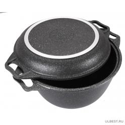 Казан с крышкой-сковородой 3л с антипригарным покрытием Kukmara (темный мрамор) кмт34а