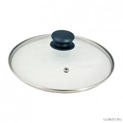Крышка с ручкой стеклянная 28см., с метал/обод, паровыпуск, низ. арт.987019