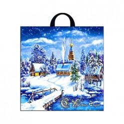 Пакет с петлевой ручкой 40х42+6 (50) Интерпак НГ (Снежное Царство) ПТЛ14607