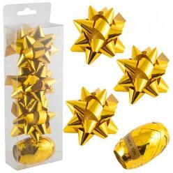 Набор для упаковки подарков, бантик 3шт 7,5см, лента 1шт 5мм*10м, золото SYH-371973 арт.005760