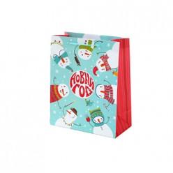 Бумажный пакет Новогодние Снеговики, с ламин,ширина основания 26см, 140г/м2, 26х32,4х12,7 81084