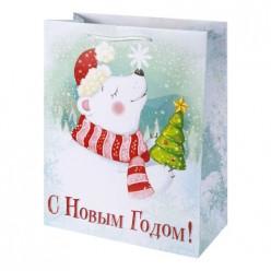 Бумажный пакет Олень и Мишка, с ламин, ширина основания 17,8 см, 140г/м2, 17,8х22,9х9,8см 79985