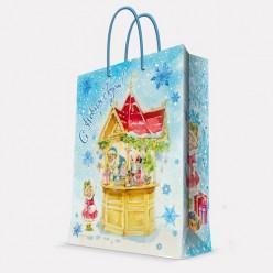 Бумажный пакет Новогодняя ярмарка, с ламин, ширина основания 26 см, 140г/м2, 26х32,4х12,7см 75324