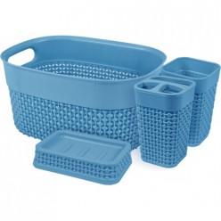 Набор для ванной комнаты OSLO Optima 4 предмета туманно-голубой PT1337 ПЛАСТ-ТИМ