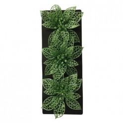Украшение декоративное Цветок (3шт) цвет зеленый арт.007939