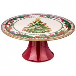 Тортовница на ножке коллекция Рождественская сказка 24*24*10 см из двух частей а+в 106-562