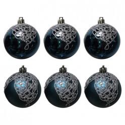 Набор шаров Ажур (6шт), размер 6см, цвет: синий арт.007488