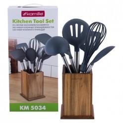 Набор кухонных принадлежностей с подставкой 7шт нейлоновые с ручкой из бамбука (5034)
