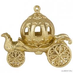 Украшение подвесное Волшебная карета, размер 11,5*9см, цвет: золото арт.007440